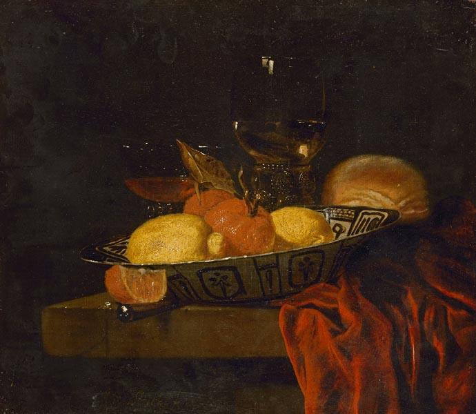 Закуска (Фарфоровая чаша с апельсинами и лимоном). Юриан ван Стрек