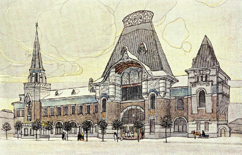 Федор Шехтель. Ярославский вокзал в Москве. Проект. Главный фасад. 1902–1904
