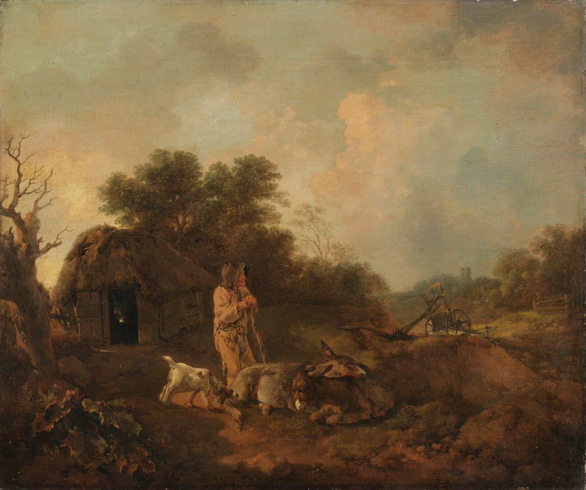 Томас Гейнсборо. Лесной пейзаж со старым крестьянином и ослами у сарая, с сошником и церковью вдали, ок. 1755-1757
