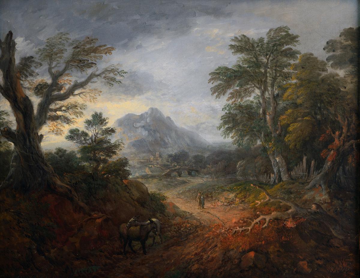 Томас Гейнсборо. Лесной пейзаж с фигурами, мостом, ослами, горой и зданиями вдали, ок. 1763-1767