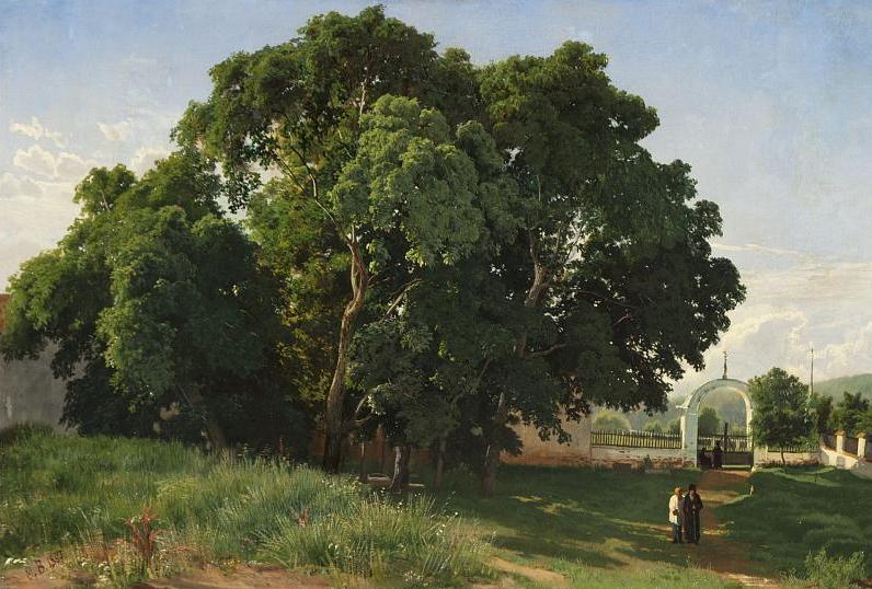 Васильев Ф.А. В церковной ограде. Валаам. 1867