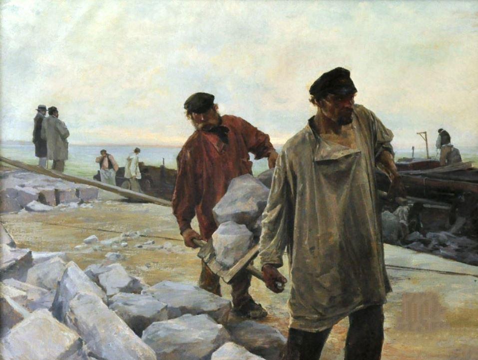 Ладыженский Г.А.  Выгрузка гранита.  Не ранее 1896 г.