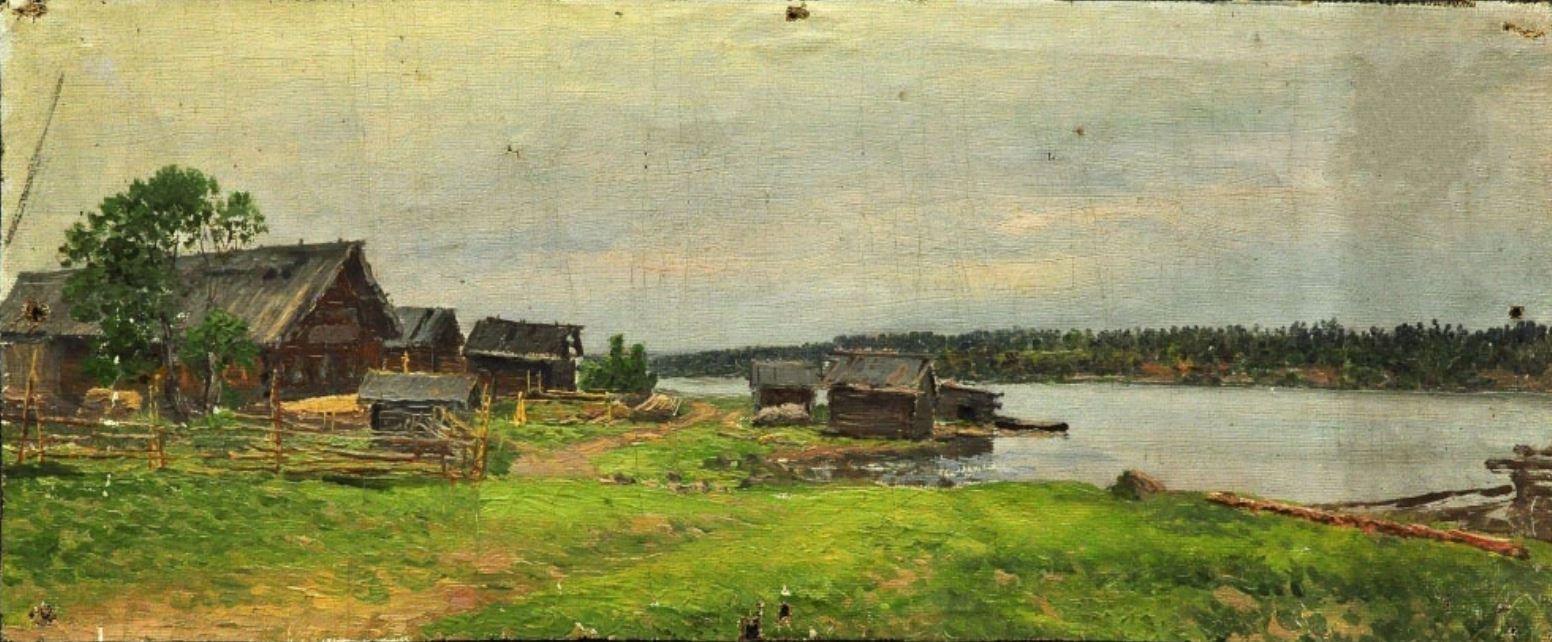 Ладыженский Г.А.Деревня.Между 1873 и 1881.Этюд