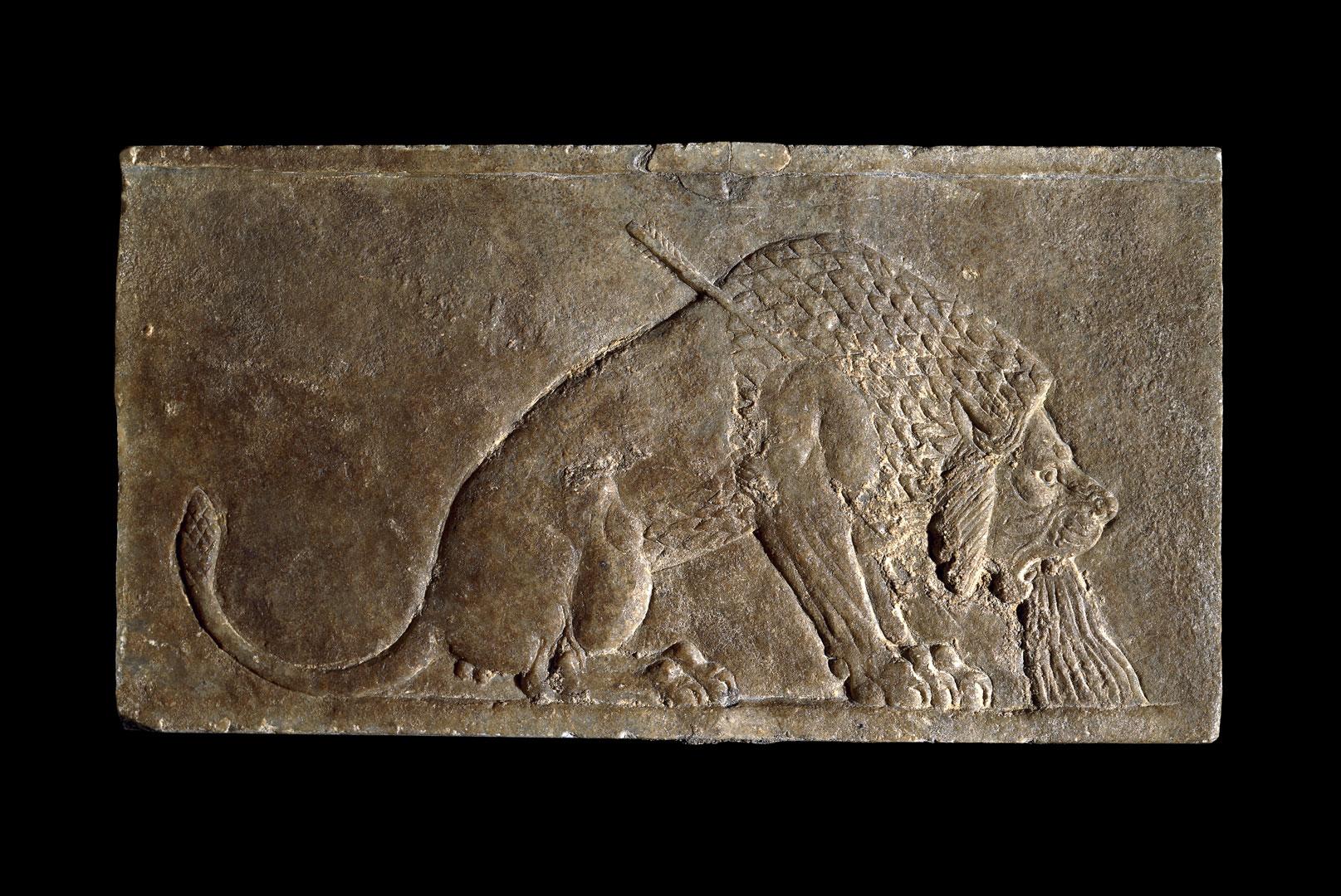 Фрагмент настенного рельефа: умирающий лев