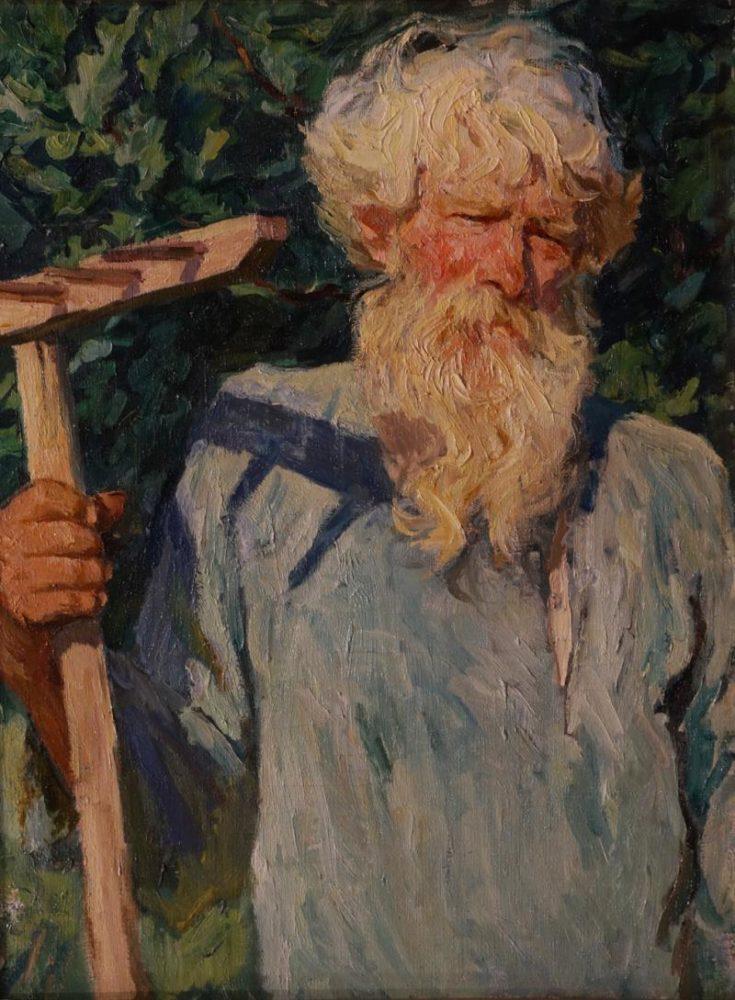 Аркадий Пластов. Петр Григорьевич Черняев с граблями