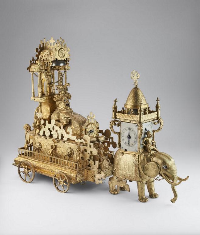 """Часы """"Бахус"""". Германия, Аугсбург, конец XVI века. Бронза, чеканка, литье, резьба. Музеи Московского Кремля."""