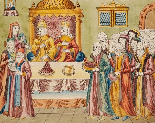 Миниатюраиз книги Описание бракосочетания царя Михаила Федоровича c Евдокией Лукьяновной Стрешневой 5 февраля 1626 г.