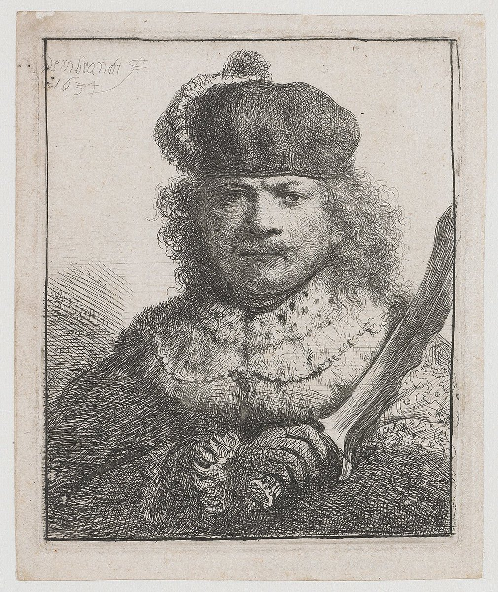 Рембрандт Автопортрет с поднятой саблей, 1634