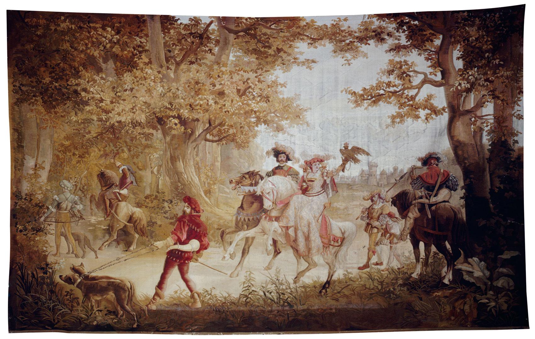Шпалера Выезд на соколиную охоту Западная Европа, вторая половина XIX в.