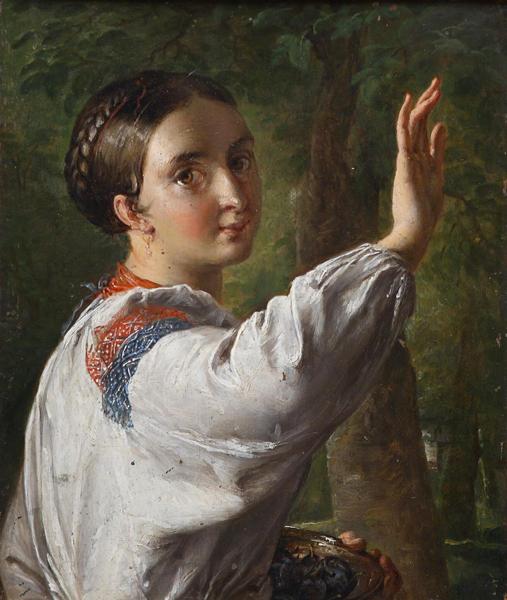 Тропинин В.А. Девушка-украинка, собирающая сливы. 1820-е.
