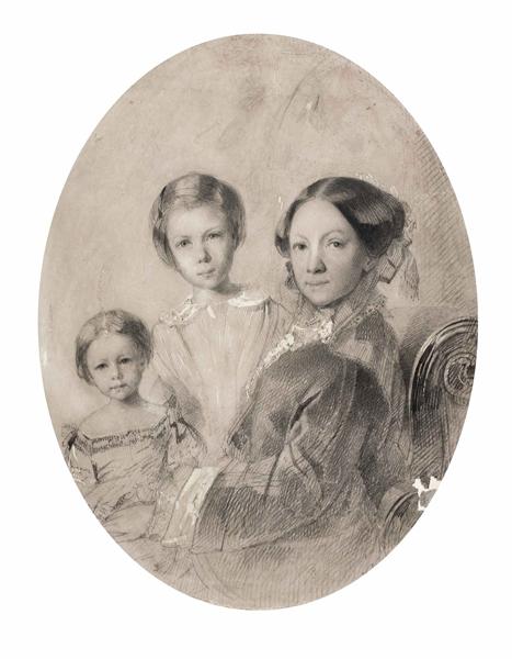 Поленова М.А. Автопортрет с дочерьми Верой и Еленой. 1853 г.