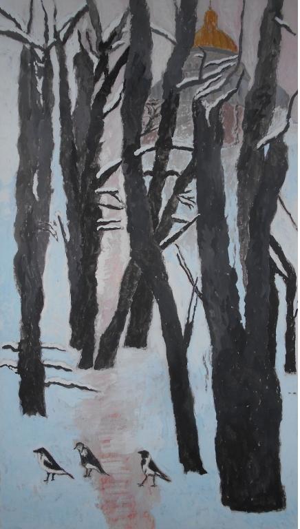 М.М.Мечев (1929-2018).Три петербургские вороны. Картон, смеш.техника,, 68х38, 2016