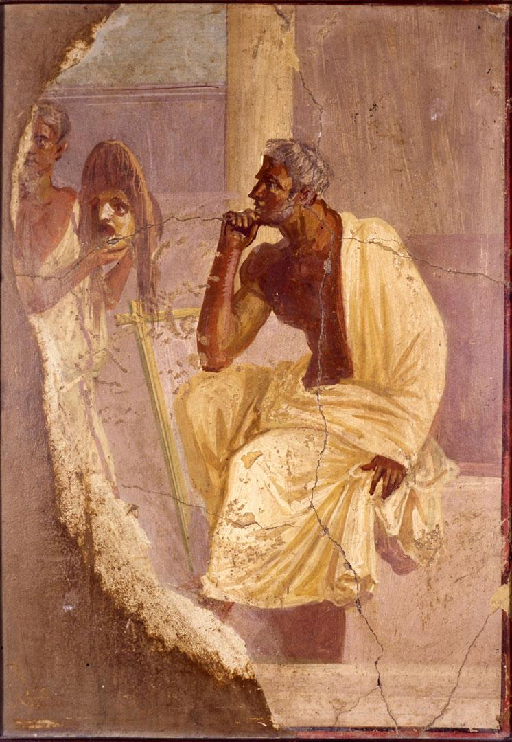 Актер с маской Фреска Помпеи. I в.