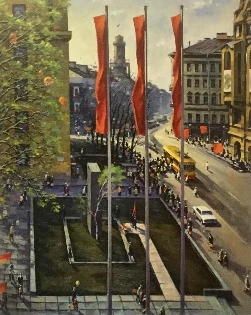 В. Шустов. Ленинград. 9 мая на Садовой улице. 1983. Холст, масло
