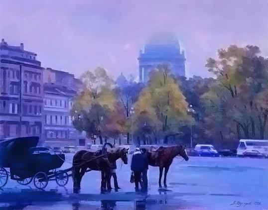 В. Шустов. Санкт-Петербург. На Дворцовой площади. 2006. Холст, масло