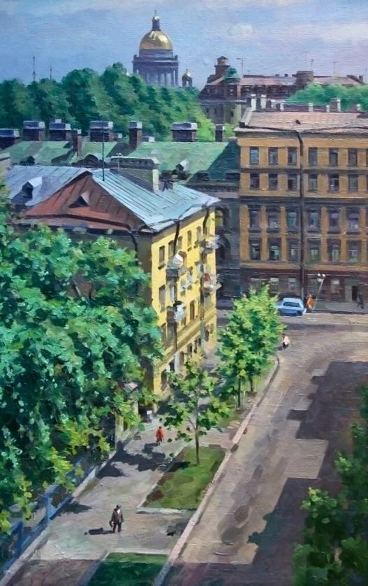 В. Шустов. Ленинград. Рабочий переулок. 1985. Оргалит, масло.