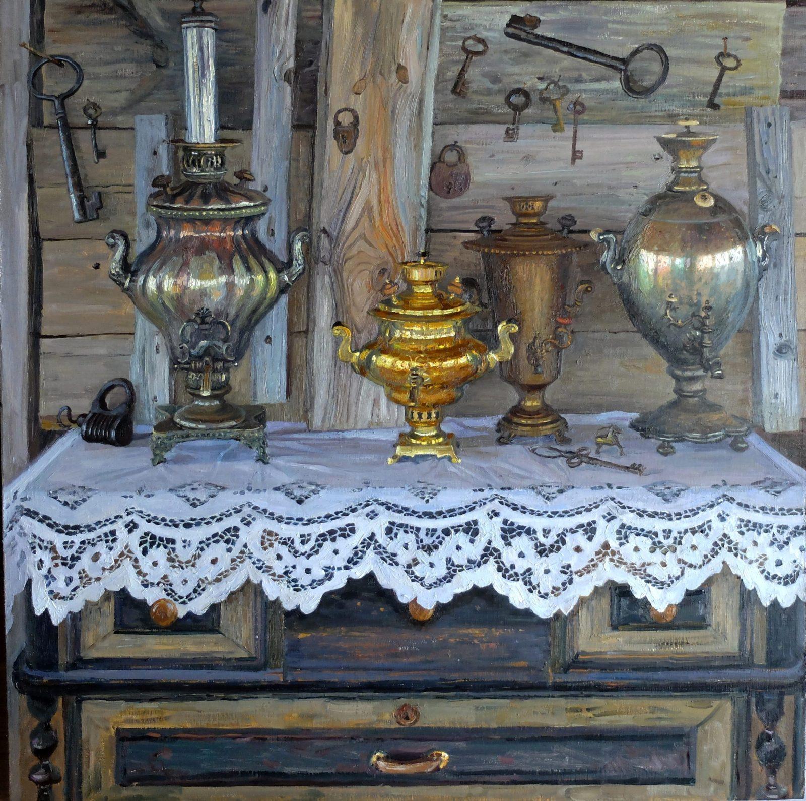 Наталья Куракса. Натюрморт с самоварами, 2019