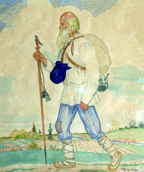"""Борис Кустодиев. Странник. (Из серии акварелей """"Русь. Русские типы""""). 1920."""