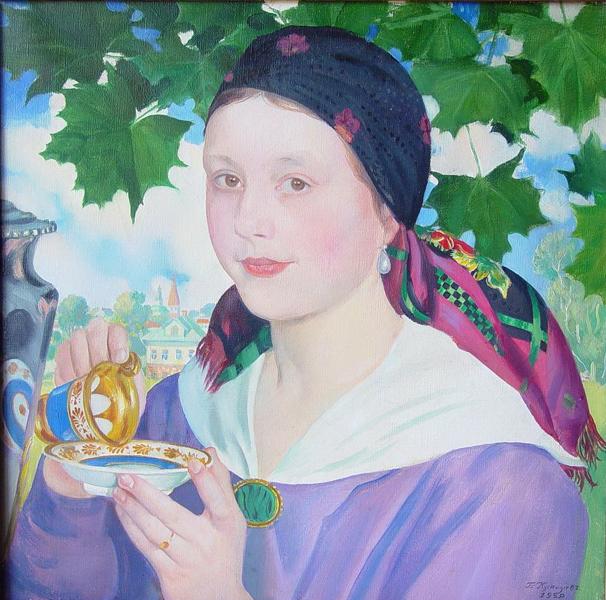 Борис Кустодиев. Девушка с чашкой (портрет Марии Дмитриевны Шостакович). 1920