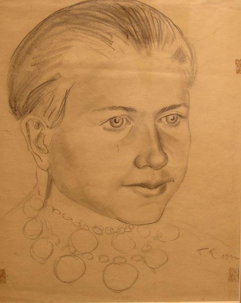 Борис Кустодиев. Голова девушки. 1922
