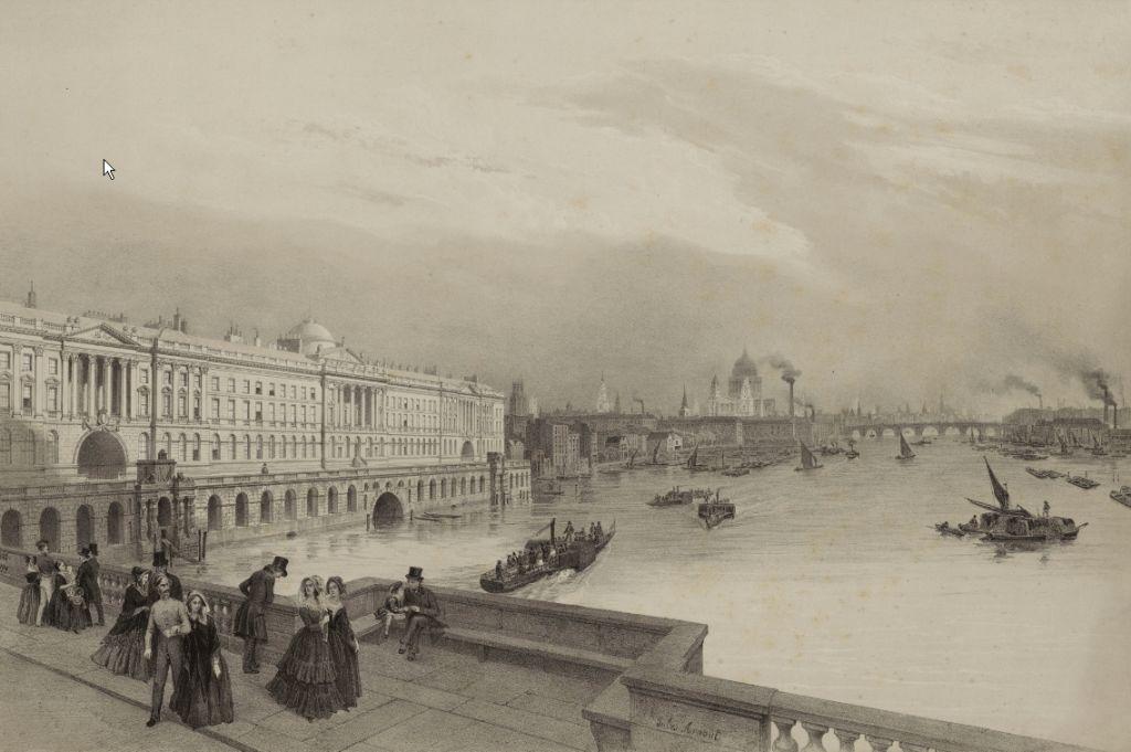 АРНУ, ЛУИ ЖЮЛЬ / ARNOUT, LOUIS JULES ВИД НА СОМЕРСЕТ-ХАУС В ЛОНДОНЕ 1847–1856