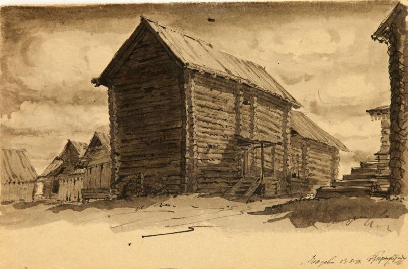 Э.Б. Бернштейн. Амбары в Чугуеве на Онеге. 1939