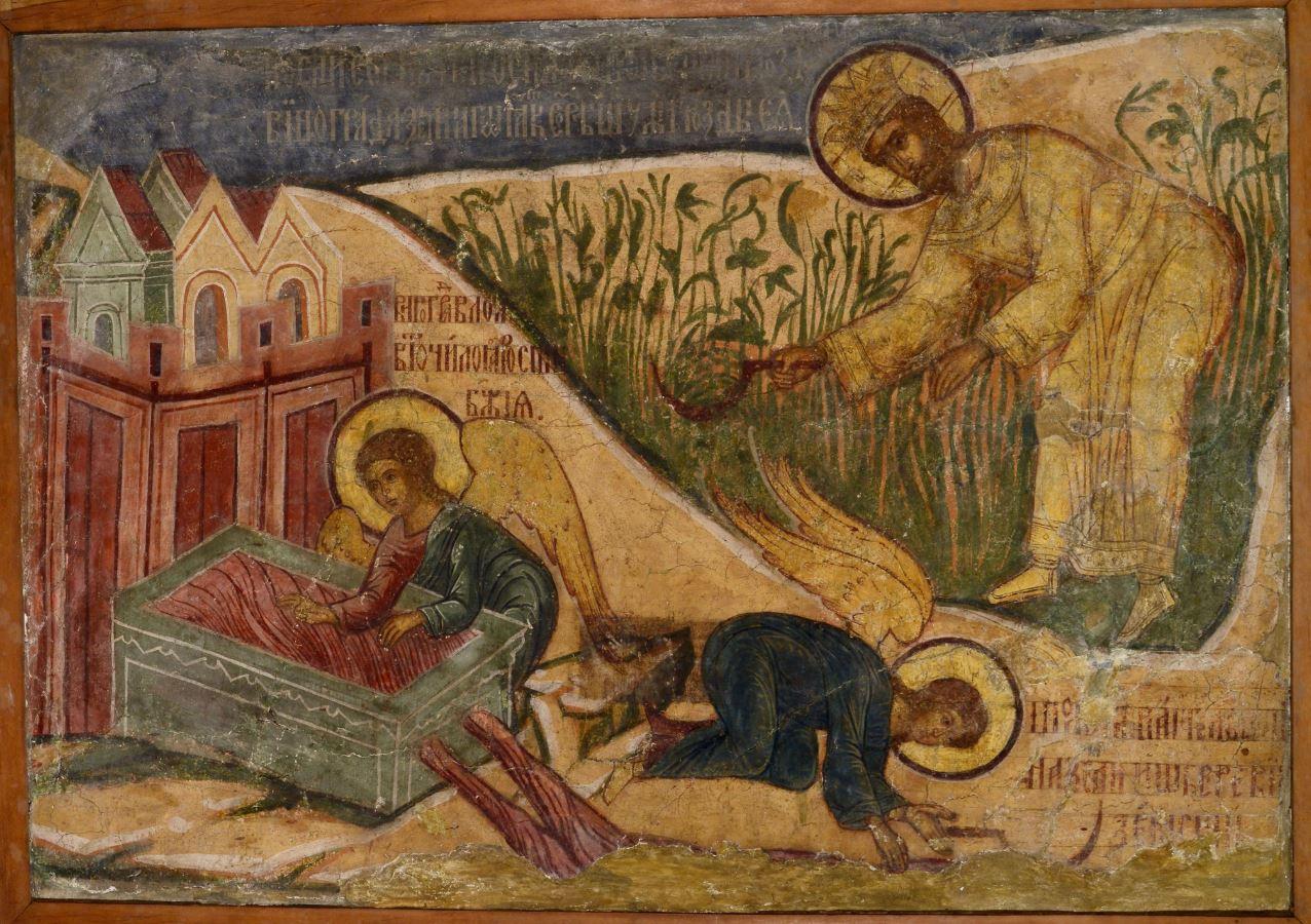 Фреска  Троицкого собора затопленного Троице-Макарьева монастыря. Жатва. Сын человеческий производит суд