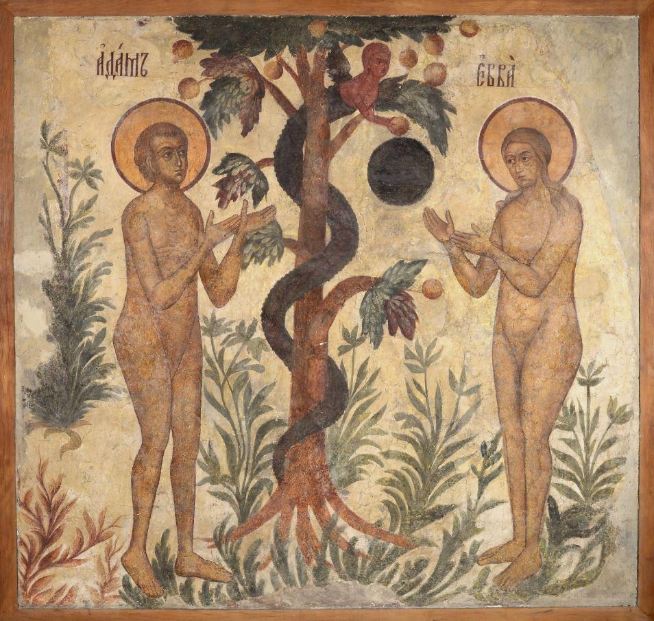 Фреска Троицкого собора затопленного Троице-Макарьева монастыря.Грехопадение Адама и Евы