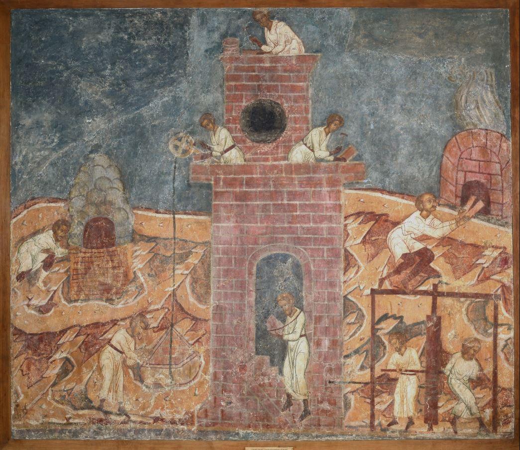 Фреска Троицкого собора затопленного Троице-Макарьева монастыря. Строительство Вавилонской башни