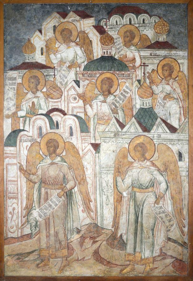 Фреска  Троицкого собора затопленного Троице-Макарьева монастыря. Ангелы семи церквей