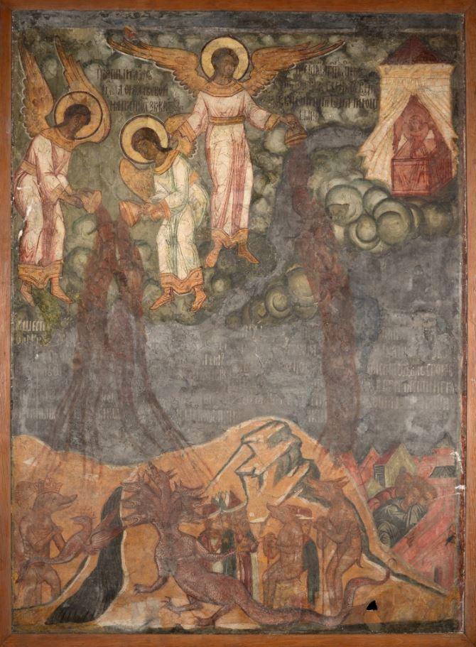 Фреска Троицкого собора затопленного Троице-Макарьева монастыря. Гибель Вавилона