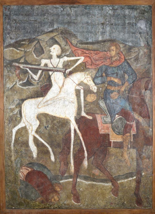 Фреска Троицкого собора затопленного Троице-Макарьева монастыря. Конь бледный и вороной