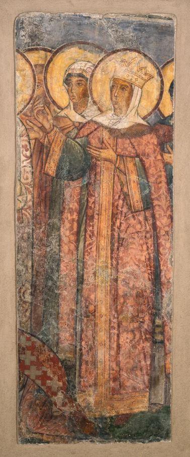 Фреска Троицкого собора затопленного Троице-Макарьева монастыря. Царица Мария Милославская, ктиторский портрет