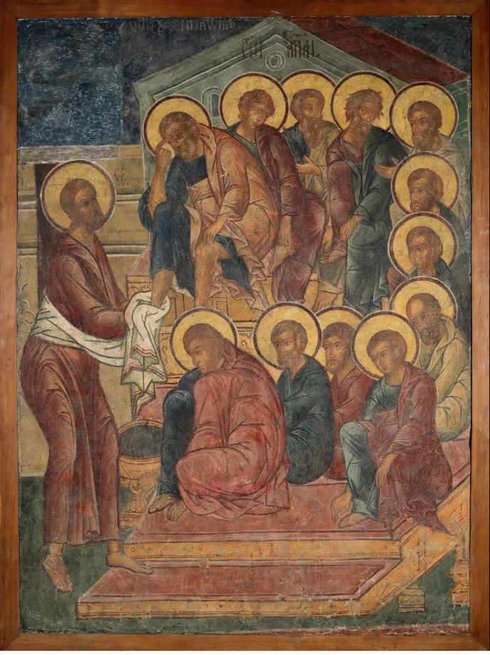Фреска Троицкого собора затопленного Троице-Макарьева монастыря. Омовение ног
