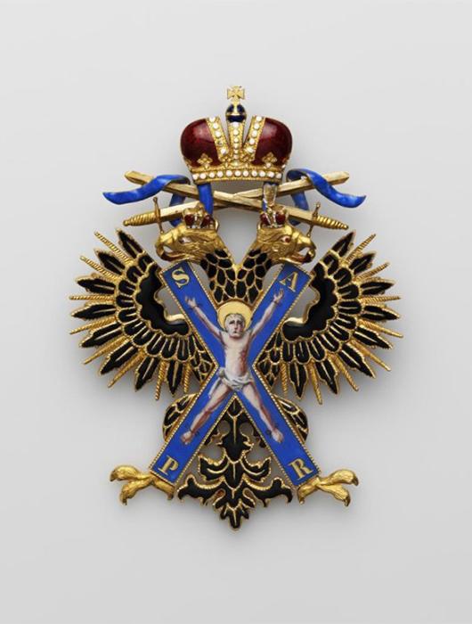 ЗНАК ОРДЕНА СВ. АНДРЕЯ ПЕРВОЗВАННОГО, С МЕЧАМИ, 1854–1862 гг.