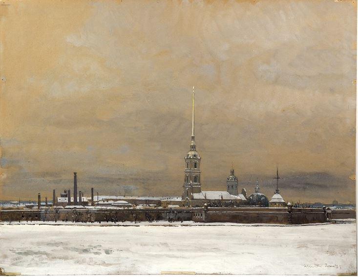 А.Н. Бенуа. Петропавловская крепость в Петрограде 1924 г. Частное собрание