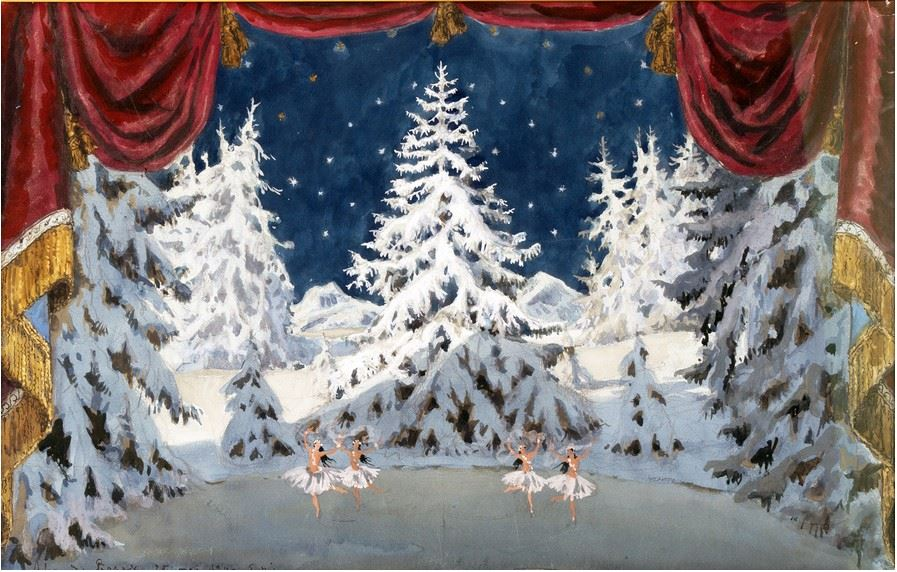 А.Н. Бенуа. Танец Снежинок. Эскиз декорации к балету «Щелкунчик». Лондон, 1957