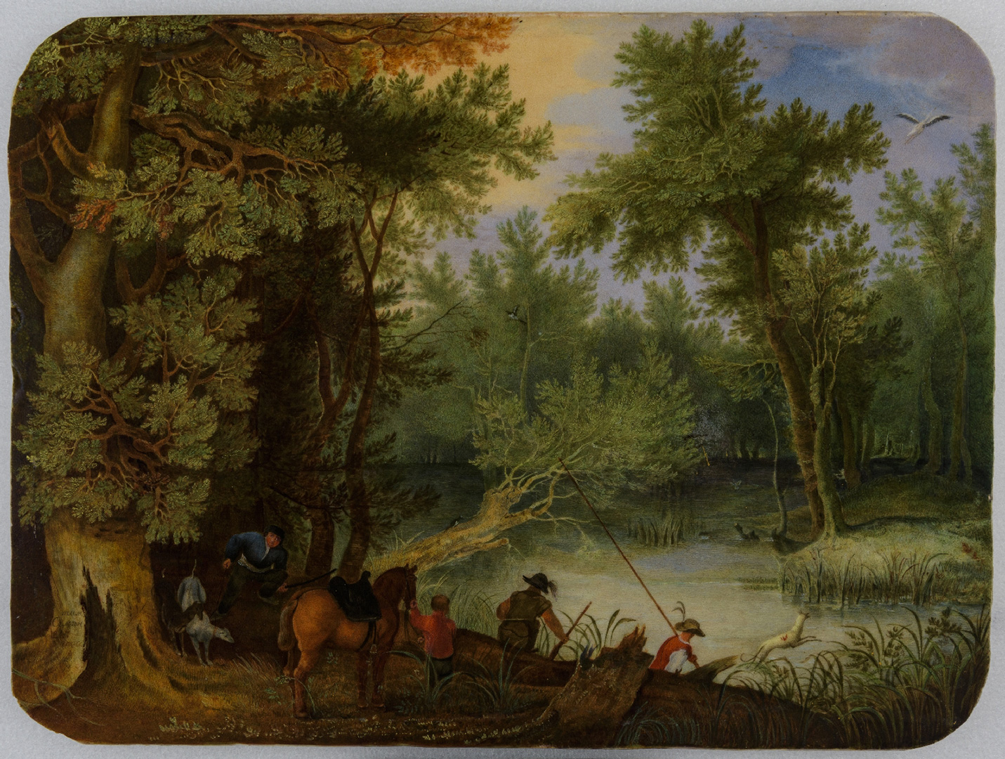 Пласт «Охотники в лесу» 1847 по живописному оригиналу неизвестного художника круга Д. Винкбонса (начало XVII века). Роспись Т.К. Семенова