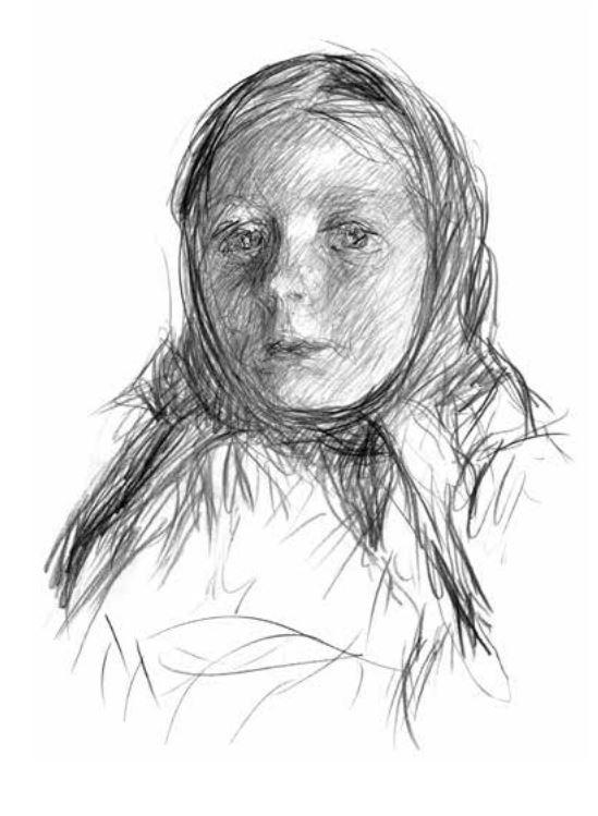 П.В. Митурич. Девочка из деревни Студенец (Тоня Васильева). 1955. Б., кар. Собр. семьи художника