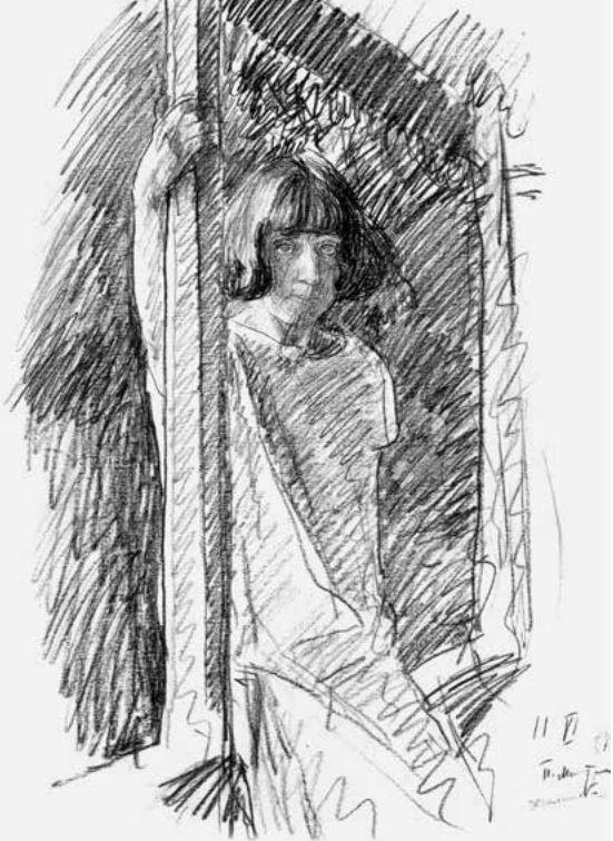 П.В. Митурич. Вера Хлебникова. 11 июня 1927 года. Хвалынск. Б., черный кар. Собр. семьи художника