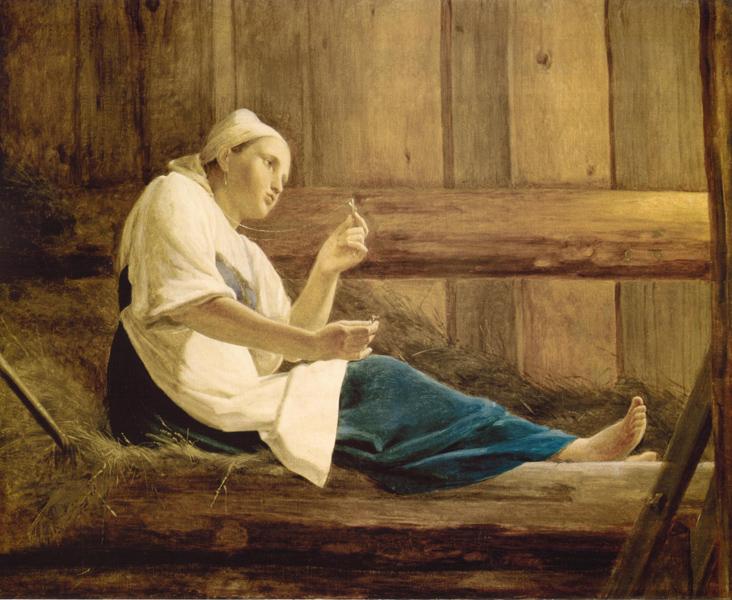 Алексей Венецианов. Девушка на сеннике. 1830-е