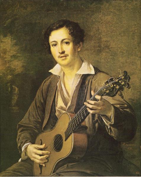 Василий Тропинин. Гитарист. 1839