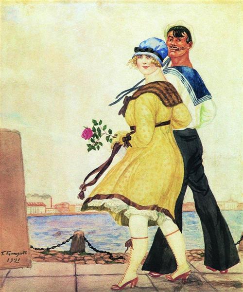 Борис Кустодиев - Матрос и милая, 1921