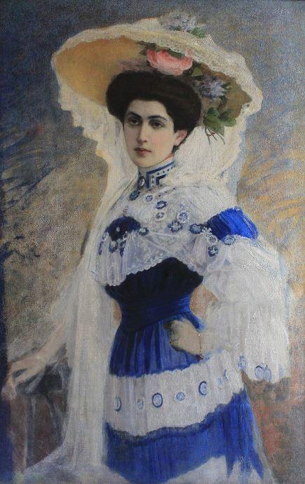 Леонтовский Александр Михайлович - Портрет молодой женщины. Дама в голубом, 1900-е