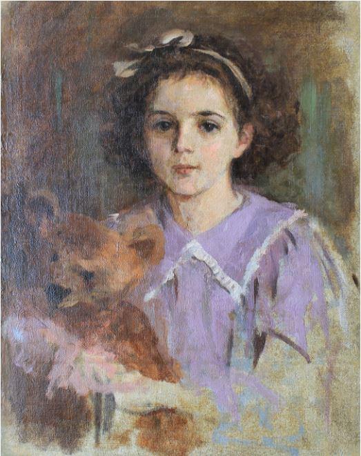 Леонтовский Александр Михайлович - Портрет девочки с мишкой, 1909