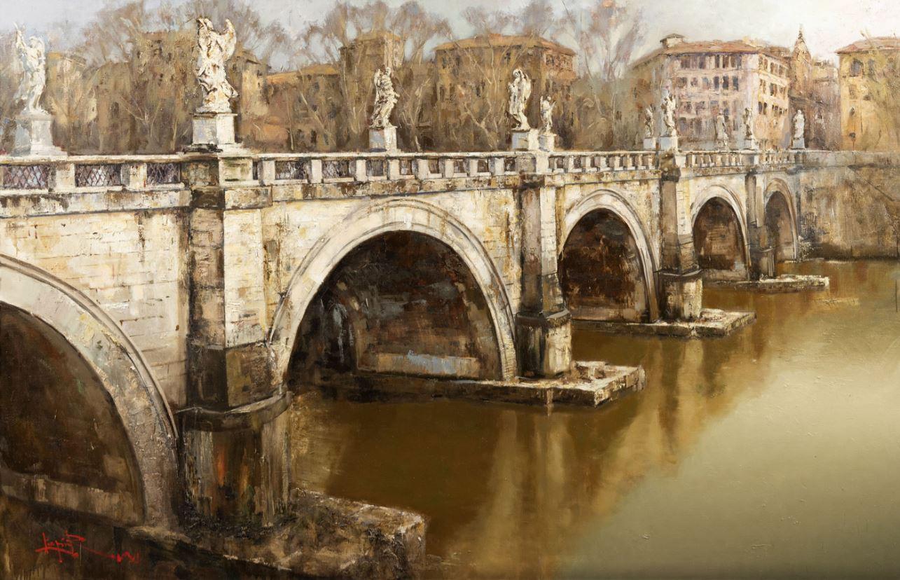 Мост Святого Ангела. Зима в Риме, 2018
