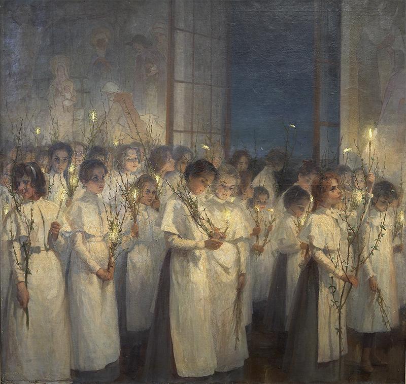 Блонская Серафима Иасоновна - Девочки. Вербное воскресенье, 1900