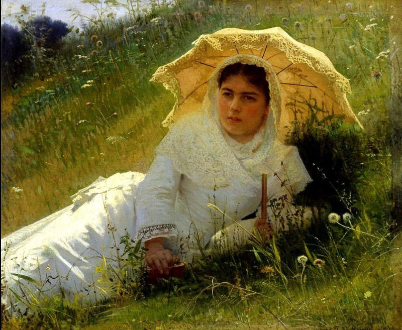Иван Крамской - Женщина под зонтиком (В полдень) - 1883