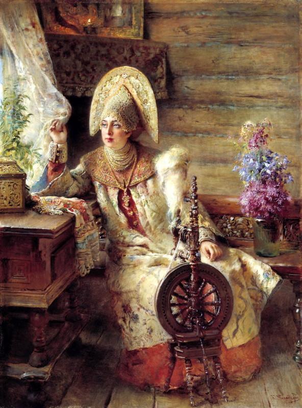 """Константин Маковский """"Боярышня у окна (с прялкой)"""" 1890"""
