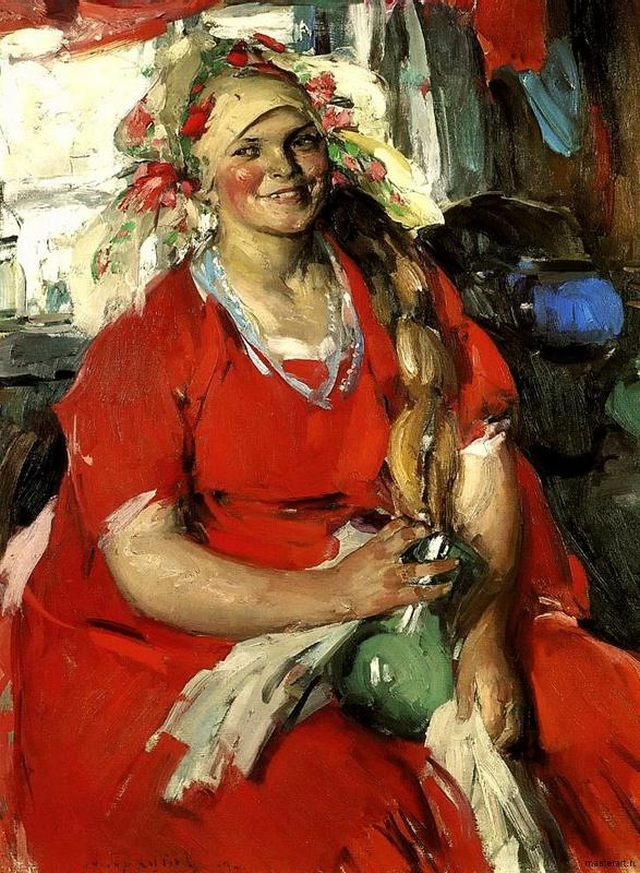 """Абрам Архипов """"Женщина в красном"""" 1919"""